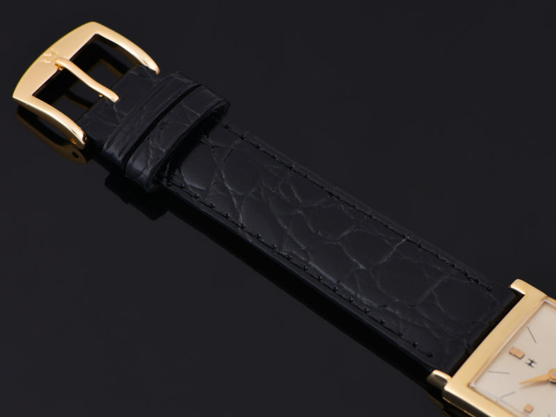 Brand New Genuine Leather Black Crocodile Grain Watch Strap with matching Gold Colored Buckle