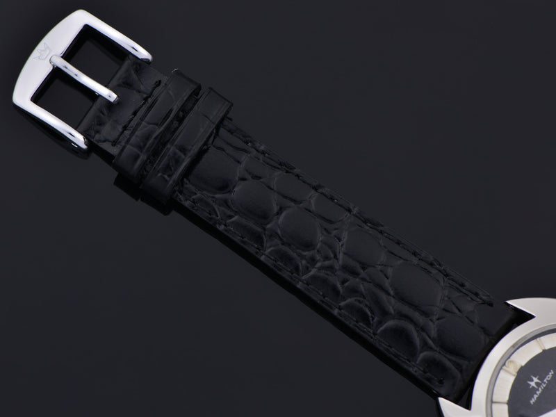 Brand New Genuine Leather Black Crocodile Grain Band with matching Silver Colored Buckle