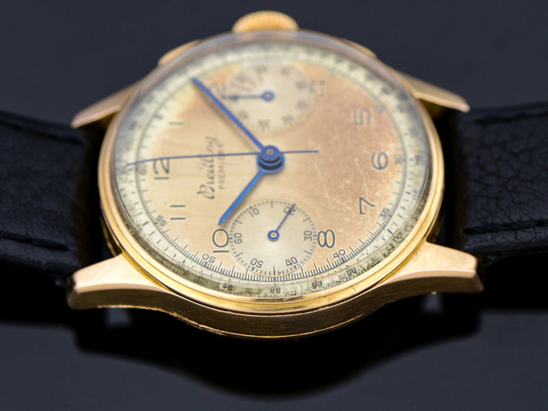 Breitling 18K Rose Gold Chronograph Watch | Vintage