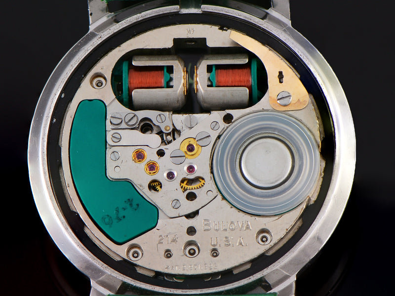 Bulova Accutron Spaceview Stainless Steel Watch Tuning Fork marked Bulova USA 214 M7 Dating the Movement to Circa 1967