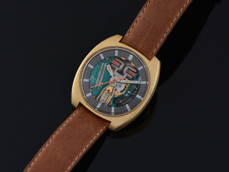 "Bulova Accutron Spaceview ""T"" Yellow Gold Electroplate Watch"