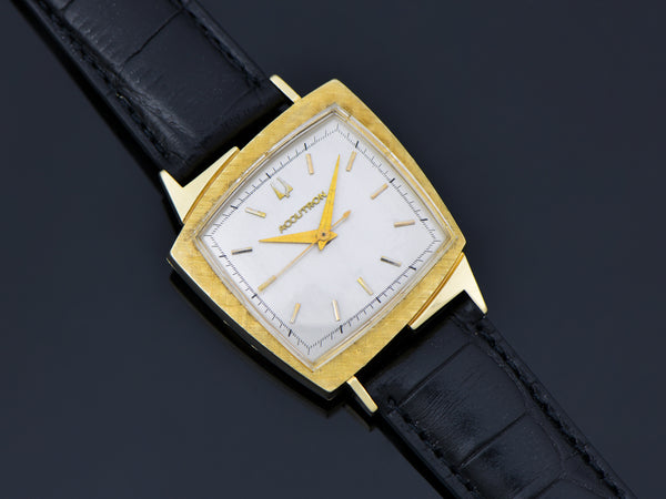 "Bulova Accutron ""TV"" Asymmetric Case Watch Textured Bezel 14K"