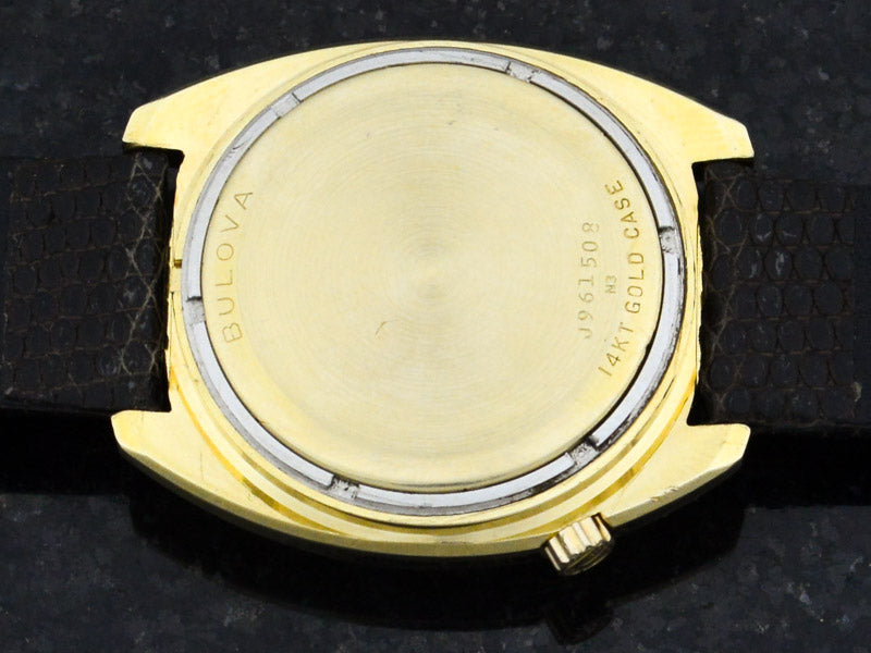 "Bulova 14K Solid Gold Accutron ""Accuquartz"" Case Back"