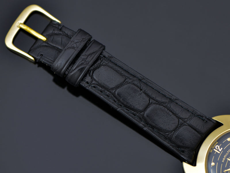 Genuine Alligator Black Watch Band with Gold Tone Buckle