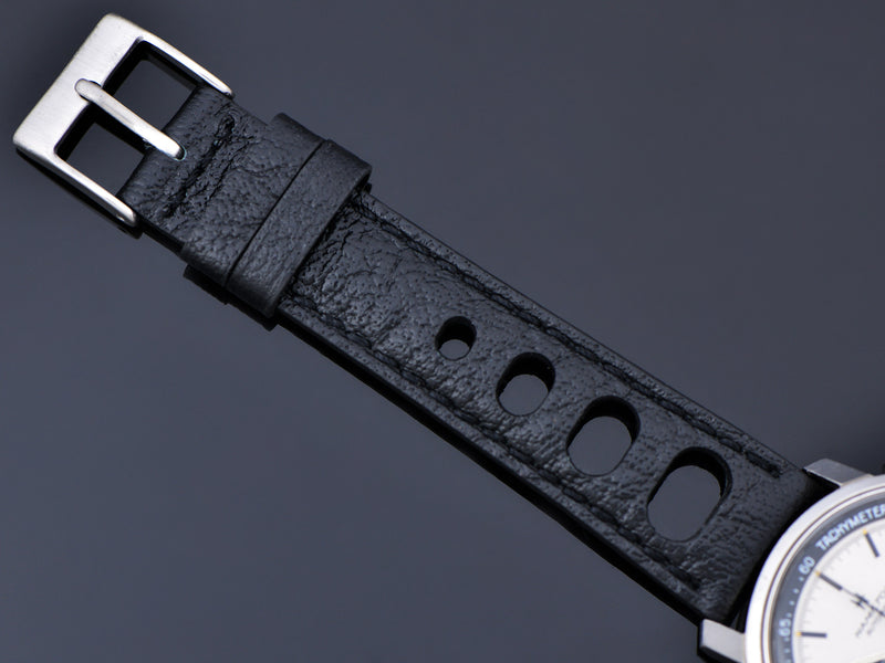 Genuine Leather Black Rally Strap with Stainless Steel Buckle