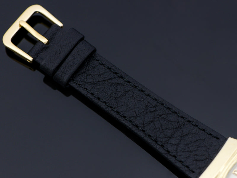 Genuine Leather Black Watch Band with matching Gold Tone Buckle