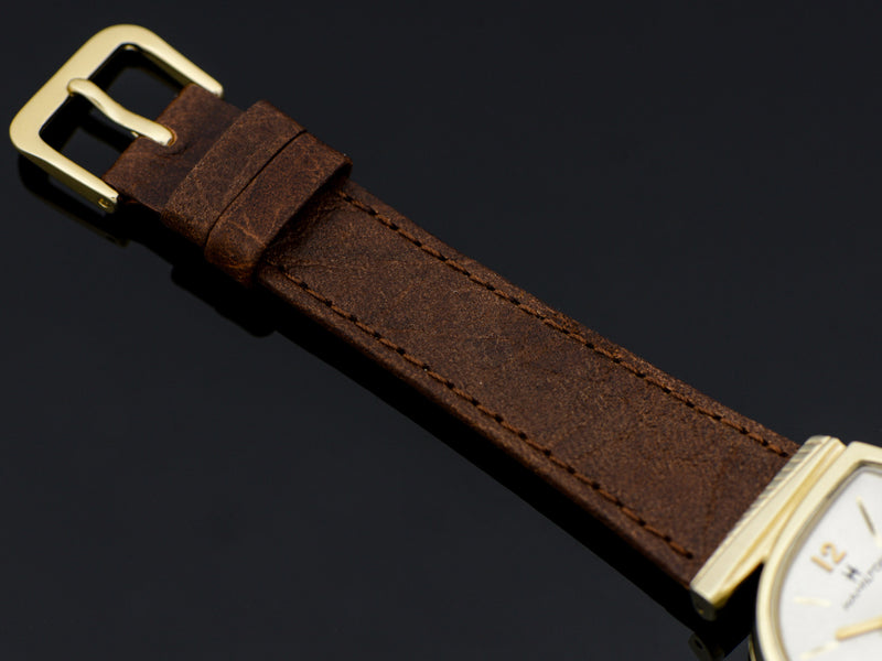 Genuine Leather Brown Watch Band with matching Gold Tone Buckle