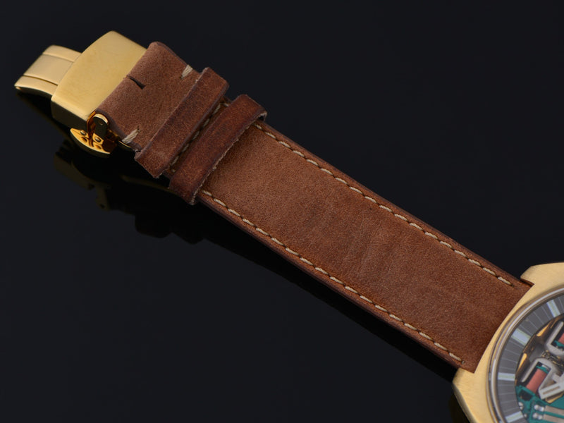 Genuine Leather Brown Watch Band With Matching Gold Tone Folding Butterfly Clasp