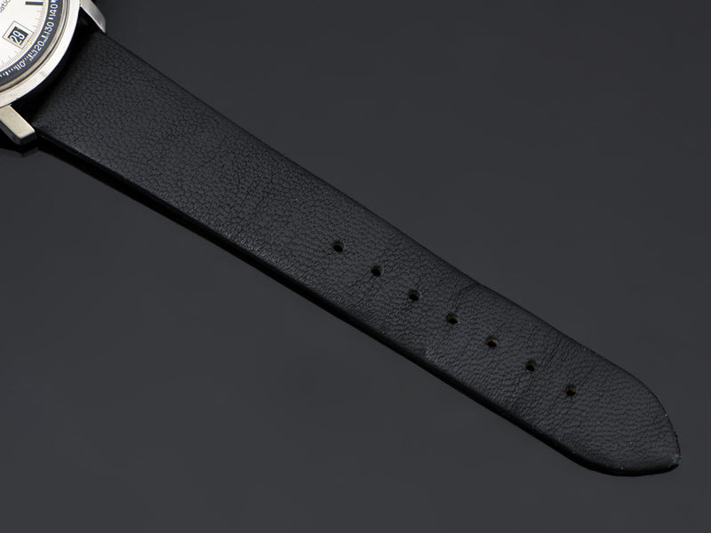 New Genuine Leather Black Strap with Silver Tone Buckle
