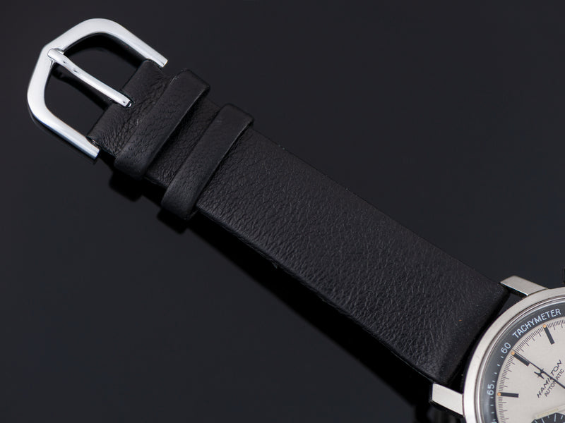 Genuine Leather Black Strap With Silver Tone Buckle