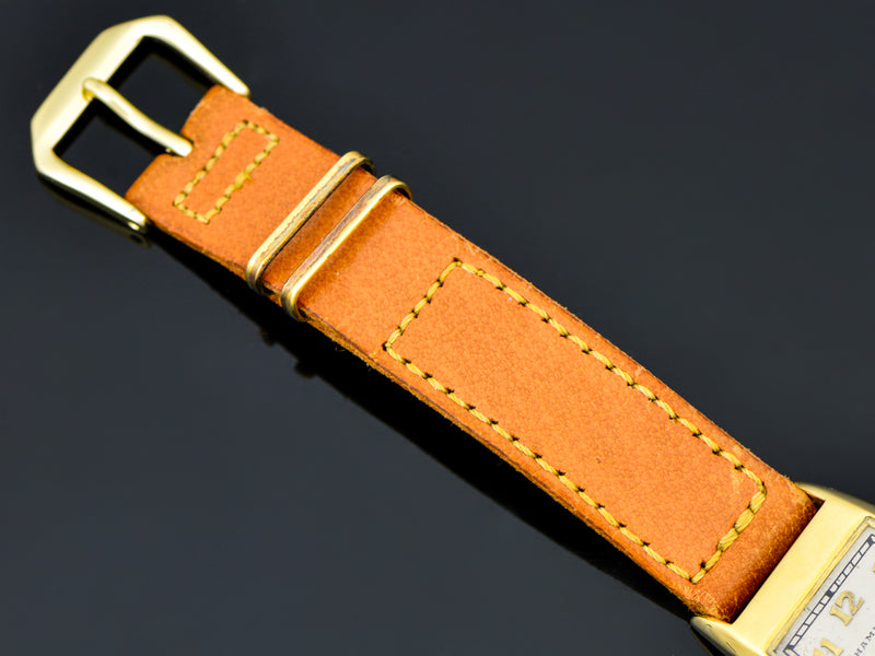 Excellent Vintage Genuine Pigskin watch band with matching gold tone buckle