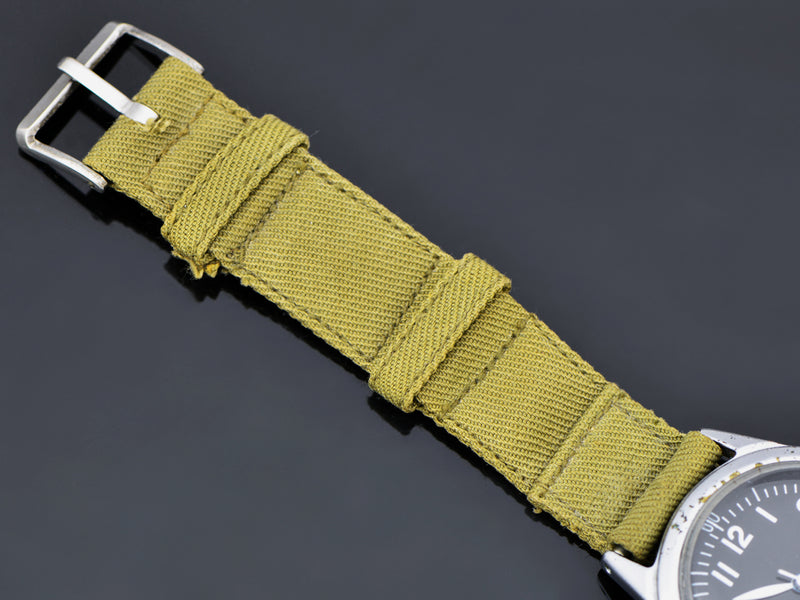Green Cloth/Canvas Strap, with matching Silver Tone Buckle