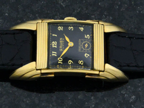 "Gruen Curvex ""Batwing"" Driver's Watch Black Dial Vintage Watch"