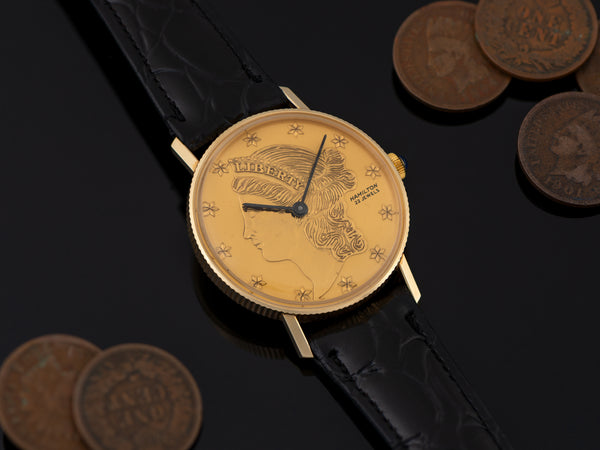 Hamilton 14K Gold Liberty Coin Watch