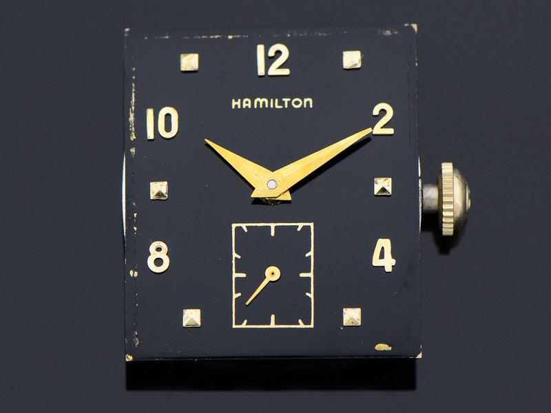Hamilton 14K Gold Robert Watch Black Dial