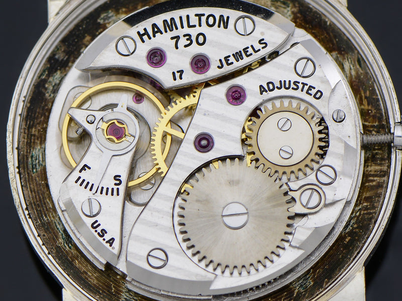 Hamilton 14K White Gold Diamond Dial Baron Watch 730 Movement | Vintage
