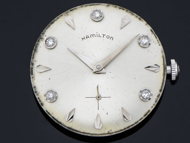 Hamilton 14K White Gold Diamond Dial Baron Watch Dial | Vintage