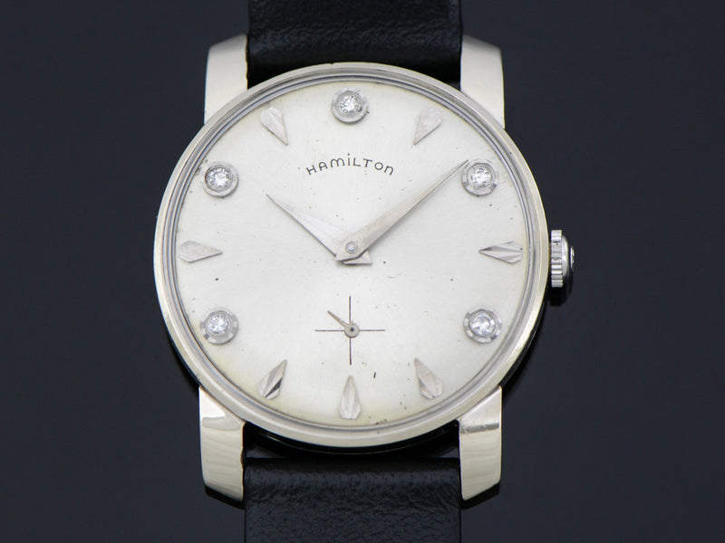 Hamilton 14K White Gold Diamond Dial Baron Watch | Vintage