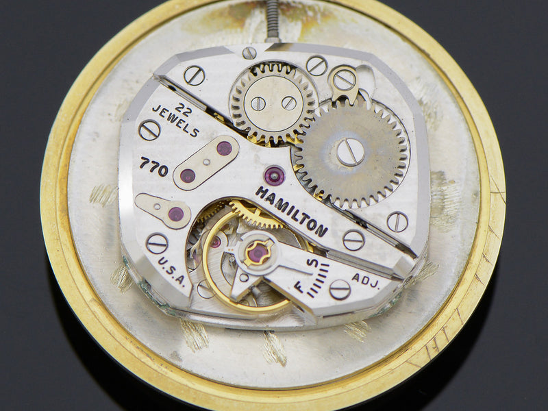 "Hamilton 14K Yellow Gold Bradford ""B"" watch 770 movement"