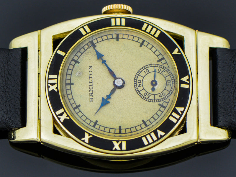 Hamilton 14K Yellow Gold Piping Rock Watch With Unique Dial | Vintage