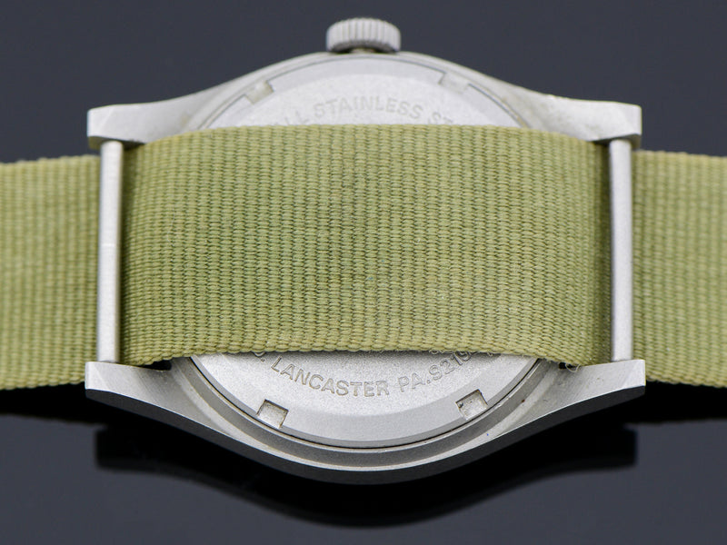 Hamilton Avirex Branded 9219 Hacking Khaki Field Watch Vintage  Case Back
