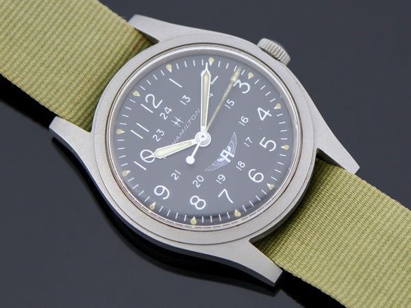 Hamilton Avirex Branded 9219 Hacking Khaki Field Watch Vintage