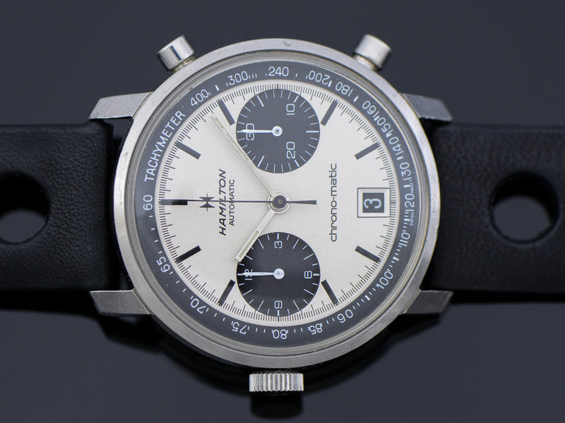 "Hamilton Chrono-Matic ""A"" Caliber 11 Automatic Panda Vintage Watch"