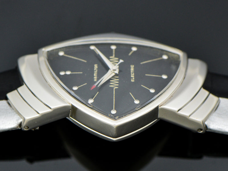 Hamilton Electric 14K White Gold Ventura Watch With Original Black Dial | Vintage
