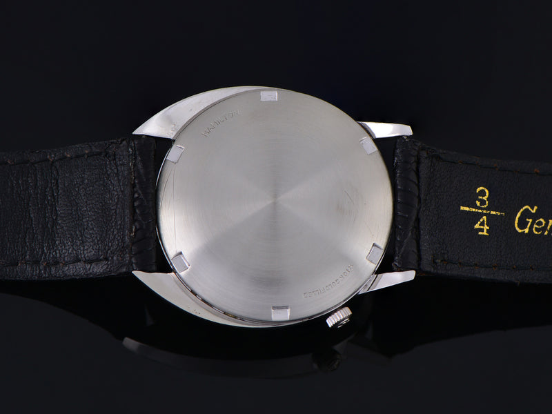 Hamilton Electric Saturn White Gold Filled Original Black Dial Watch Case Back