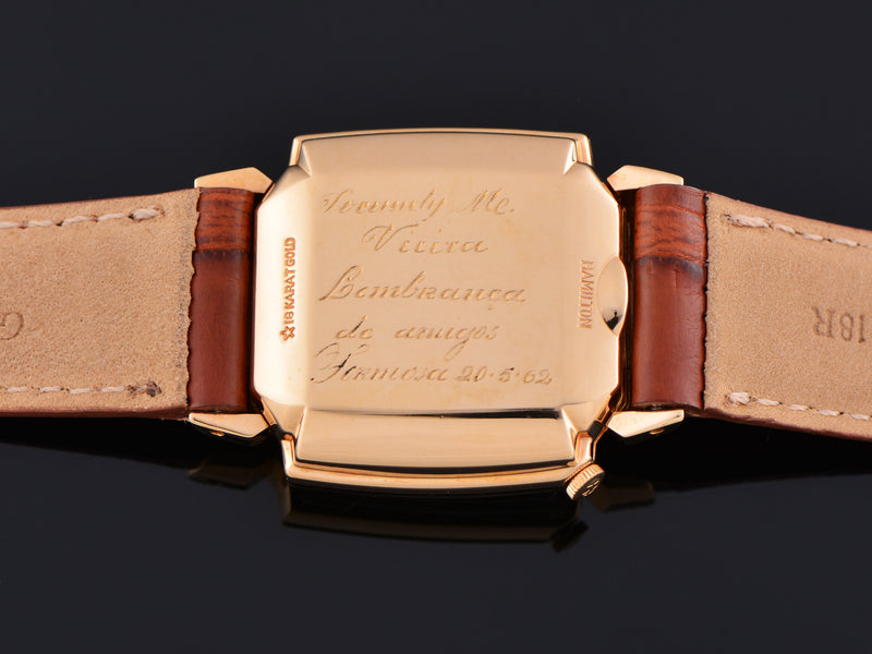 Hamilton Electric Vantage 18K Rose Gold Case Back Engraving Showing Export to Portugal