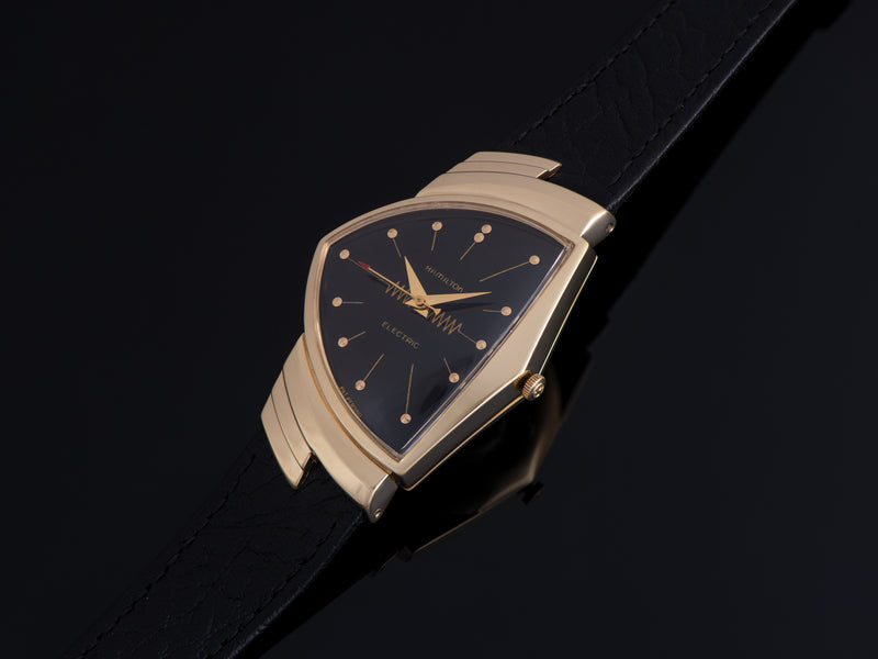 Hamilton Electric Ventura 14K Gold Black Dial Watch