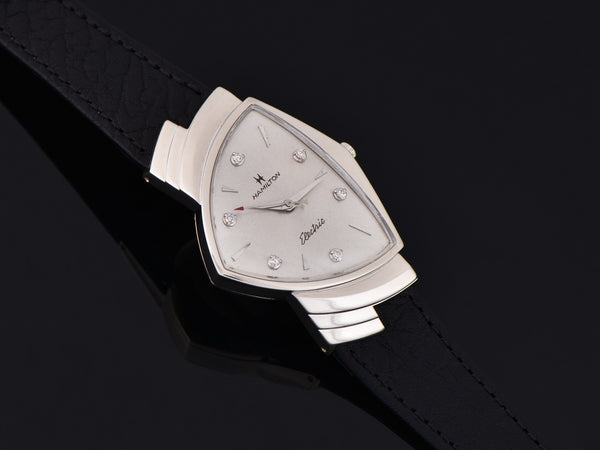 Hamilton Electric Ventura 14K White Gold Diamond Dial Watch