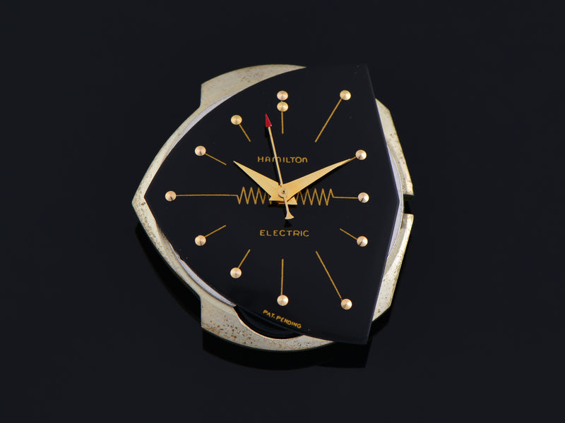 Hamilton Electric 14K Gold Ventura Black Dial