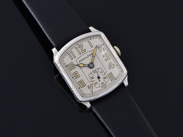 Hamilton Tonneau White Gold Filled Watch