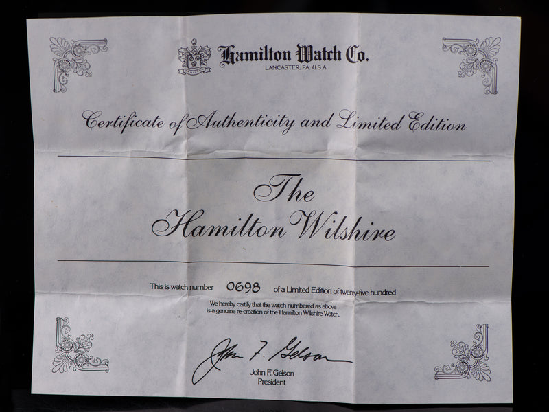 Hamilton Wilshire Watch Reissue Limited Edition Quartz Authenticity Certificate