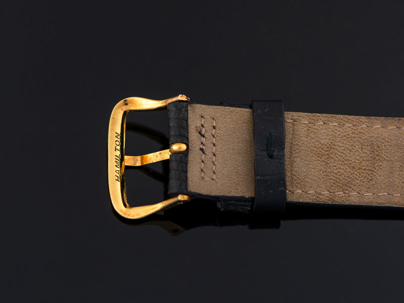 Gently used Genuine Lizard black strap with Hamilton Marked Gold Filled Buckle