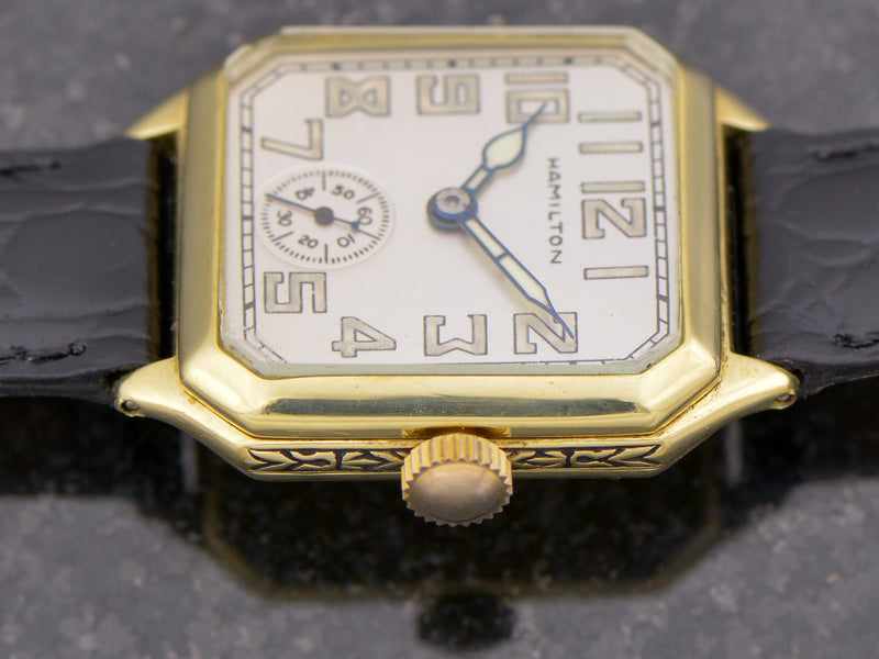 Hamilton 14K Green Gold Square Cut Corner Vintage Watch