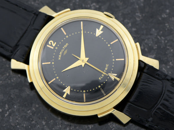 Hamilton Electric 14K Van Horn Black Dial Vintage Watch