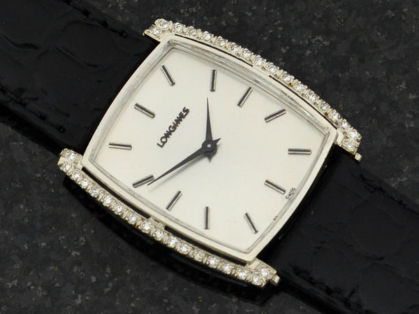 Longines 14K White Gold With Diamonds Tonneau