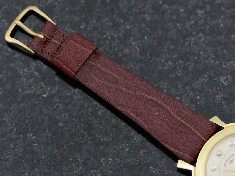 New Old Stock Genuine Leather Hamilton Strap with Hamilton Marked Gold Filled Buckle