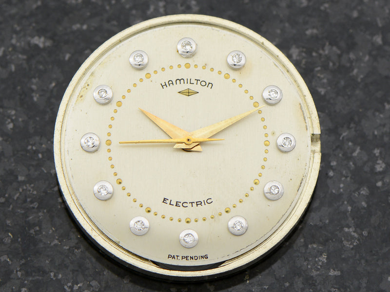 Hamilton Electric 14K Diamond Dial Van Horn Vintage Watch Dial