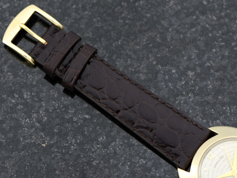 Genuine Leather Brown Crocodile Grain Band with matching Gold Tone Buckle