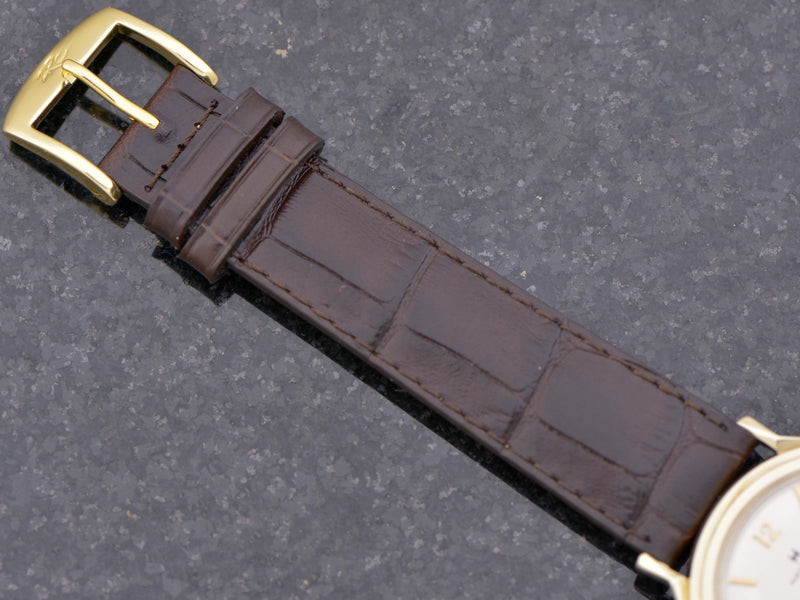 new genuine Leather Alligator Grain Brown Band with Gold Colored Buckle