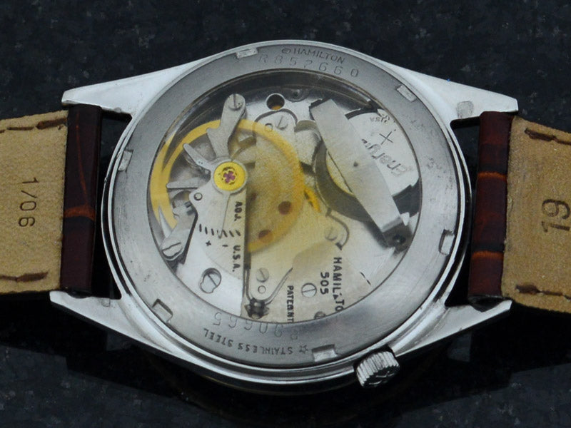 Hamilton Electric Clearview White Dial Vintage Watch Display Back Caseback