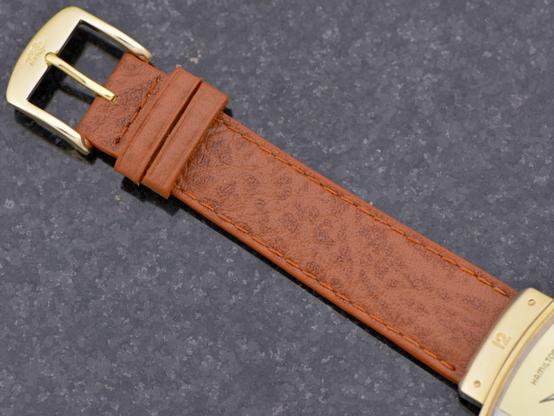Genuine Leather Buffalo Grain Brown Band with Gold Colored Buckle