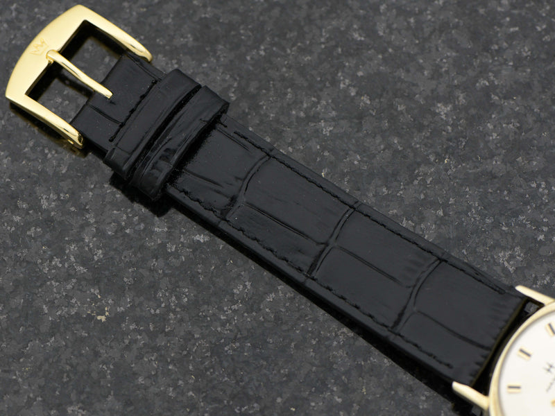 new genuine leather Black Alligator Grain Band with Matching Gold Colored Buckle