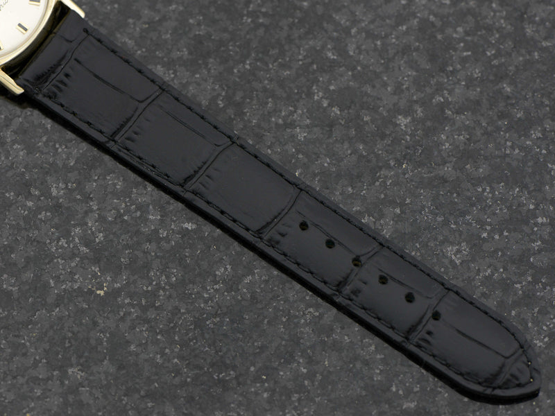 new genuine leather Black Alligator Grain Band with Gold Colored Buckle