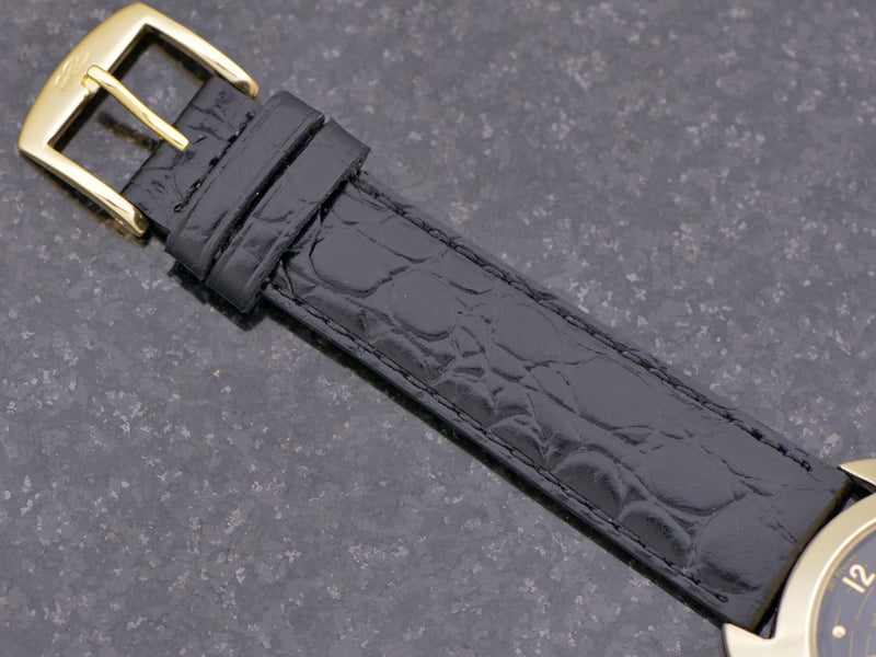 New Genuine Leather Crocodile Grain Black Band with Gold Tone Buckle