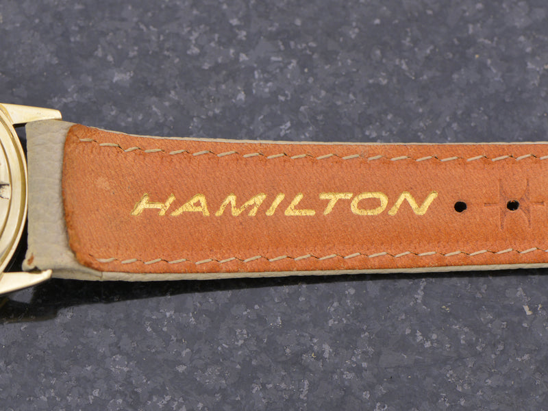 New Old Stock Original Tan Spectra Strap with 14K Hamilton Signed Buckle