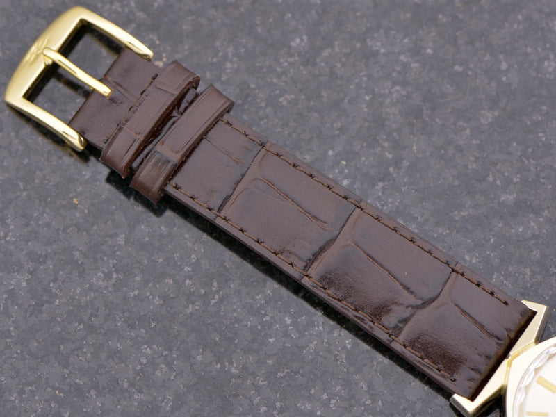 new Genuine Leather Brown Alligator Grain Band with Matching Gold Colored Buckle